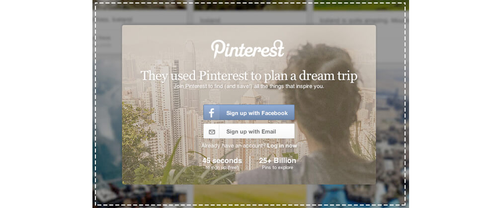 1 Pinterest Sign-up HP