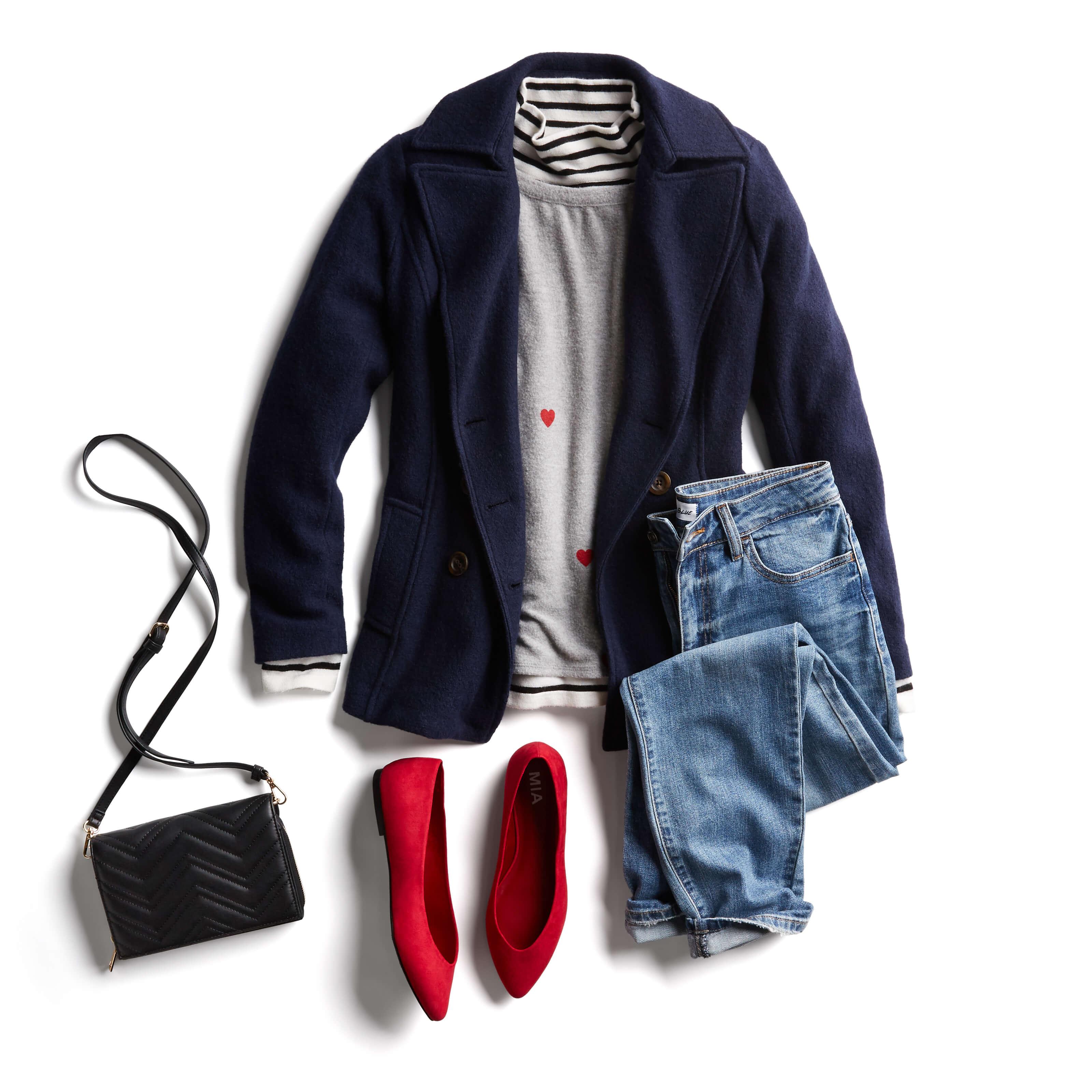 light jacket and flats