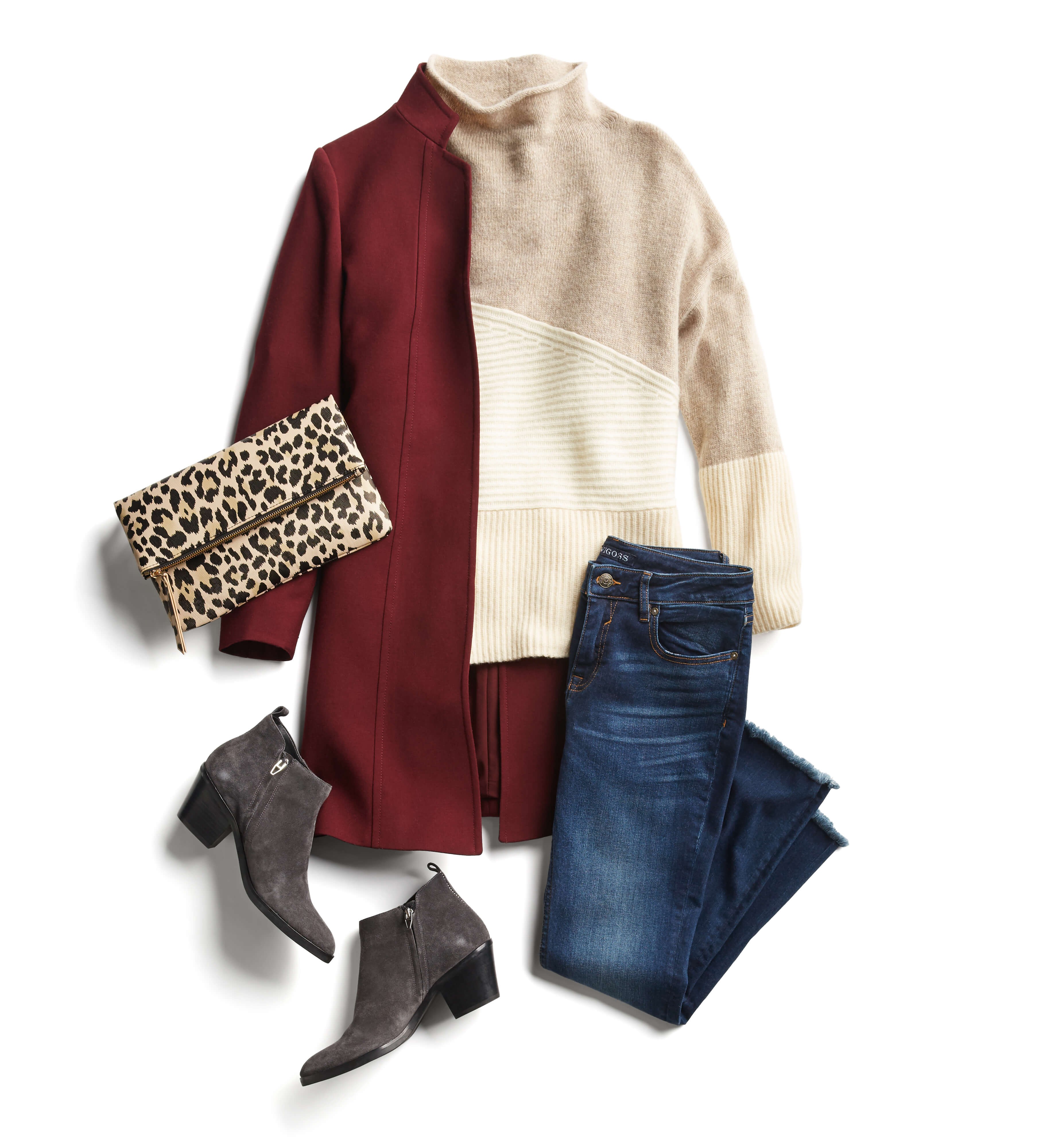 red coat and jeans