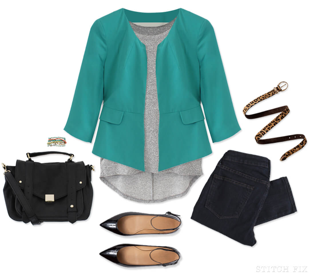 Boyfriend Tee paired with a blazer and jeans