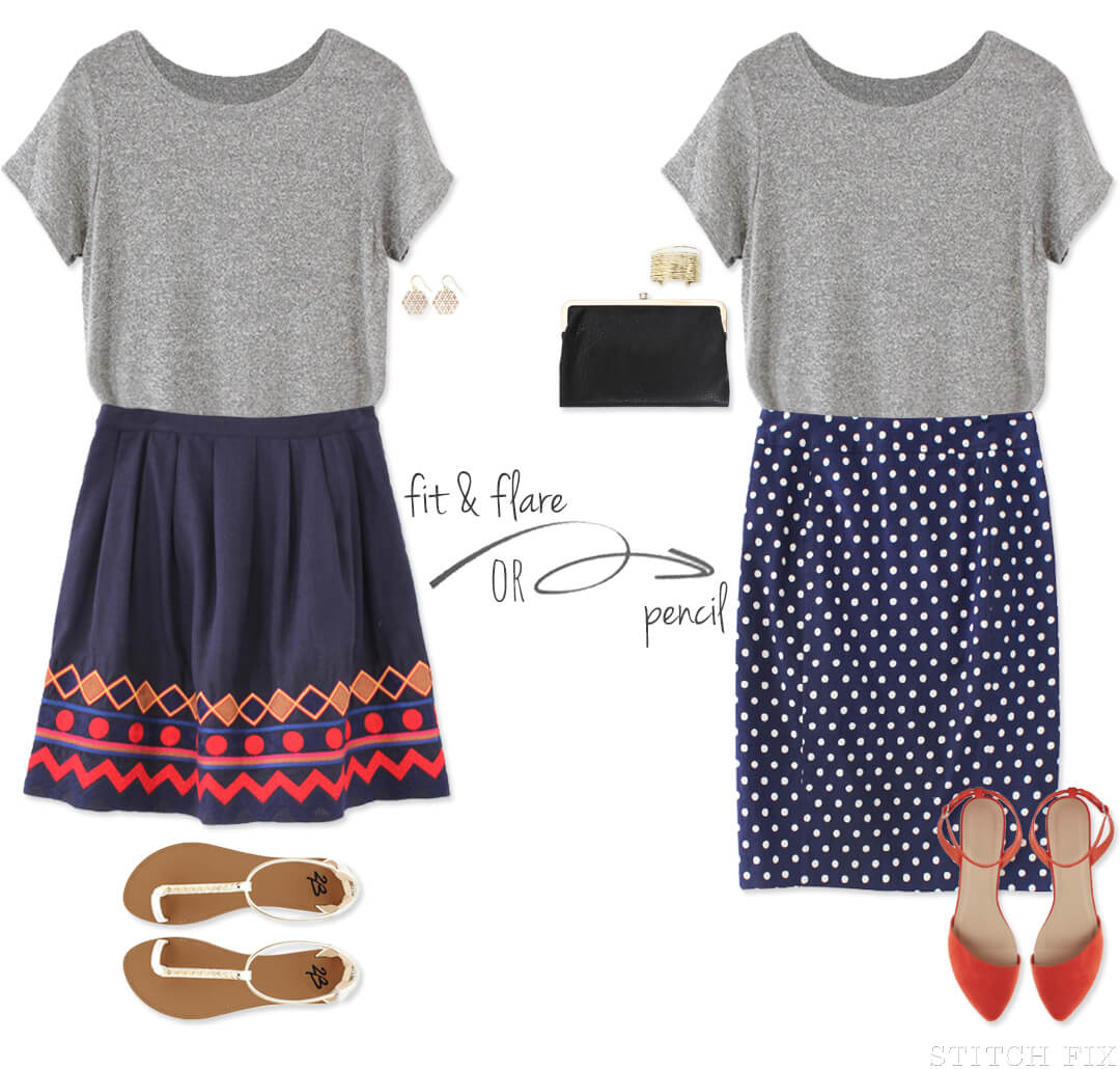 Boyfriend tee paired with Skirt