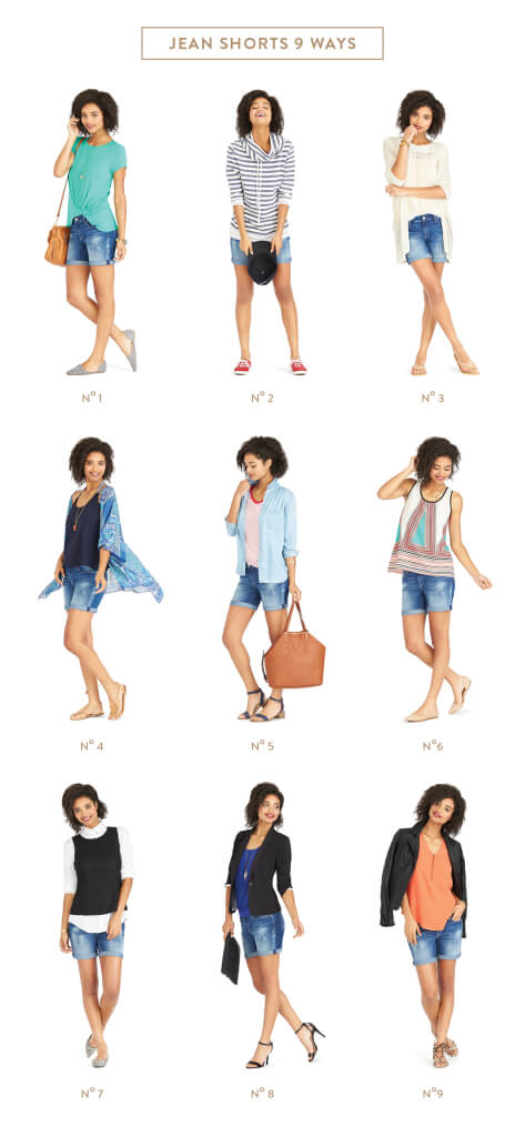 9 Ways to Wear Denim Shorts / Cutoffs