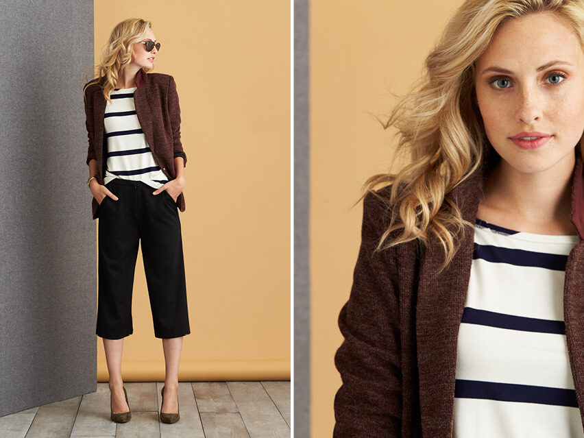 How to wear stripes & a tailored blazer to pull off feminine menswear!
