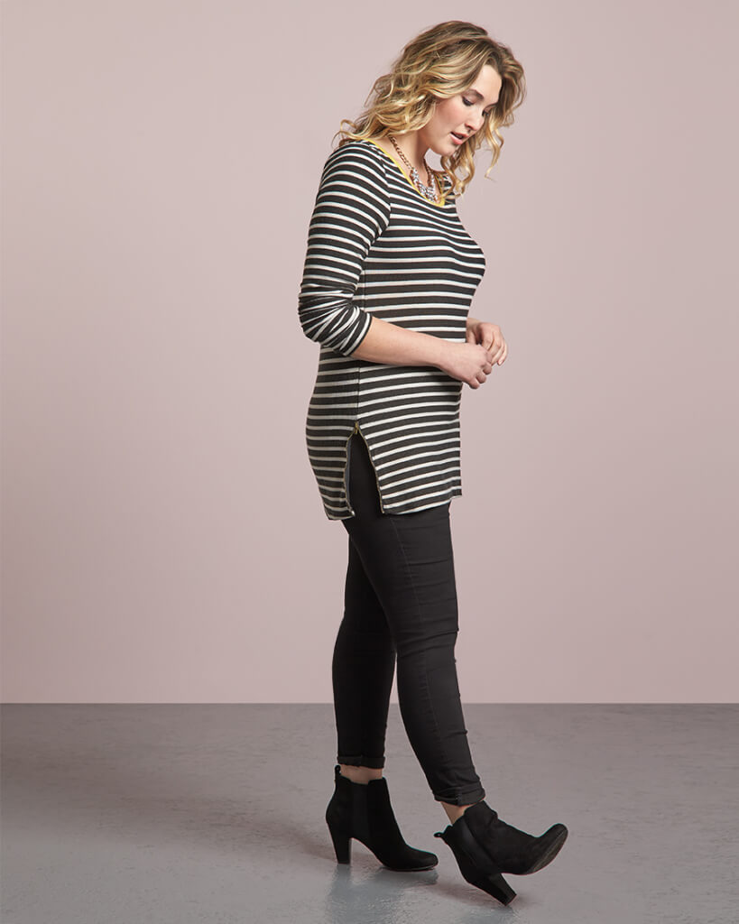 We're throwing out the old (false) belief that horizontal stripes make you look wider along your bustline & midsection.