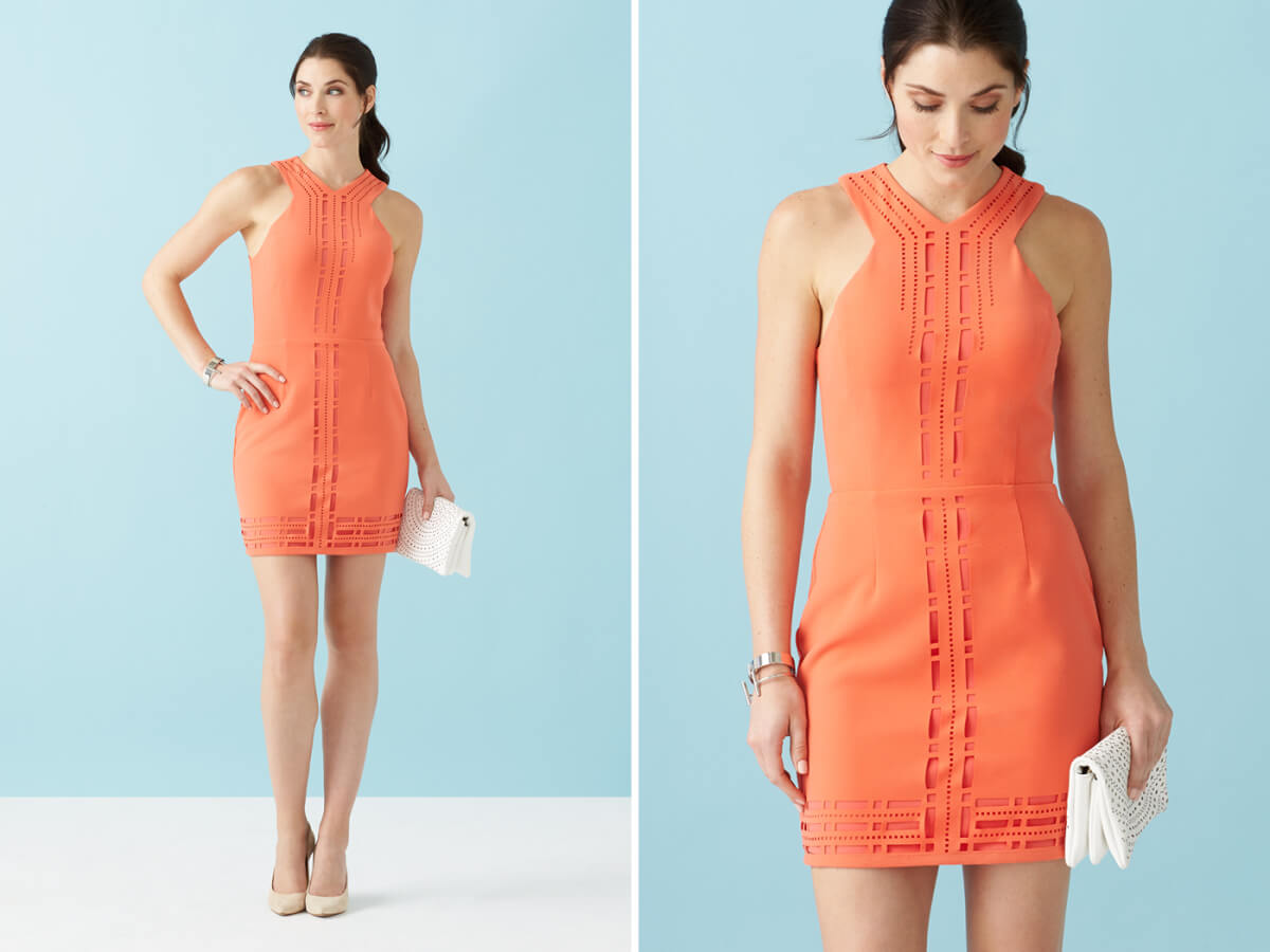 Laser details are a great way to try this show-off trend. Not into showing any skin but still want to get the look? Instead, make a statement by choosing a dress (or other piece) in a bright, show-stopping color.