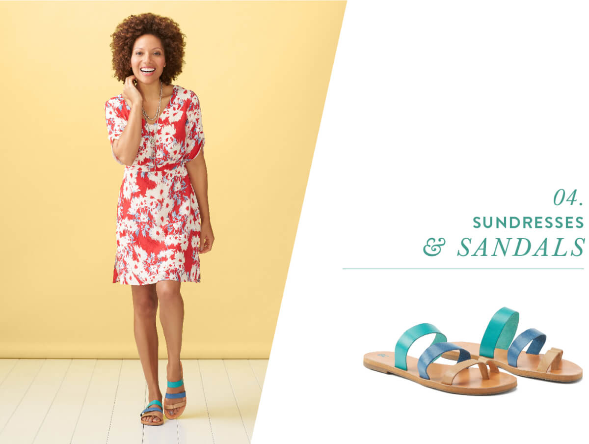 Go top-to-toe in brights! Vibrant sandals are as versatile as their neutral counterparts. With bold-on-bold pairings trending for spring, don't shy away from wearing saturated slip-ons with printed sundresses.