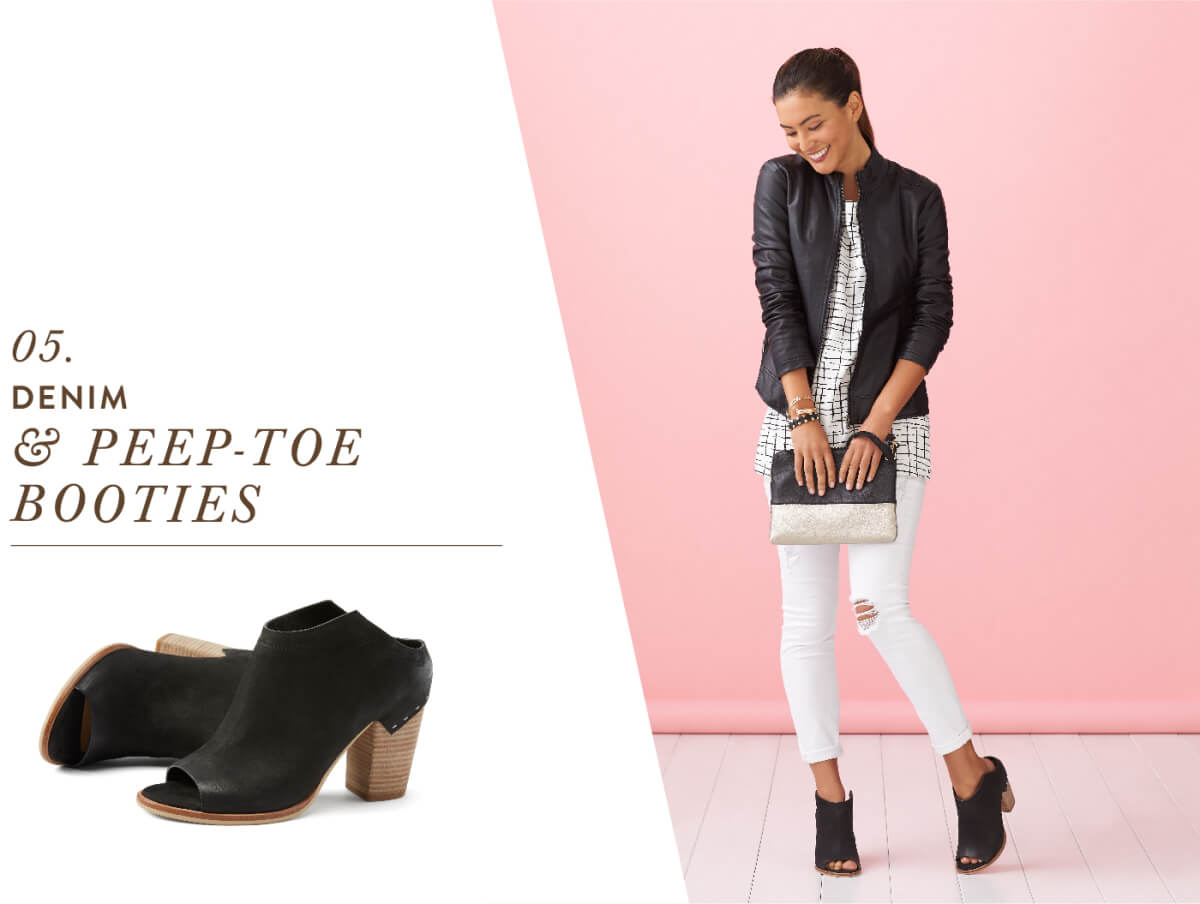 Yes you can wear your favorite fall footwear in the spring! The peep-toe bootie has all the comfort of a boot with the breathability of a sandal.