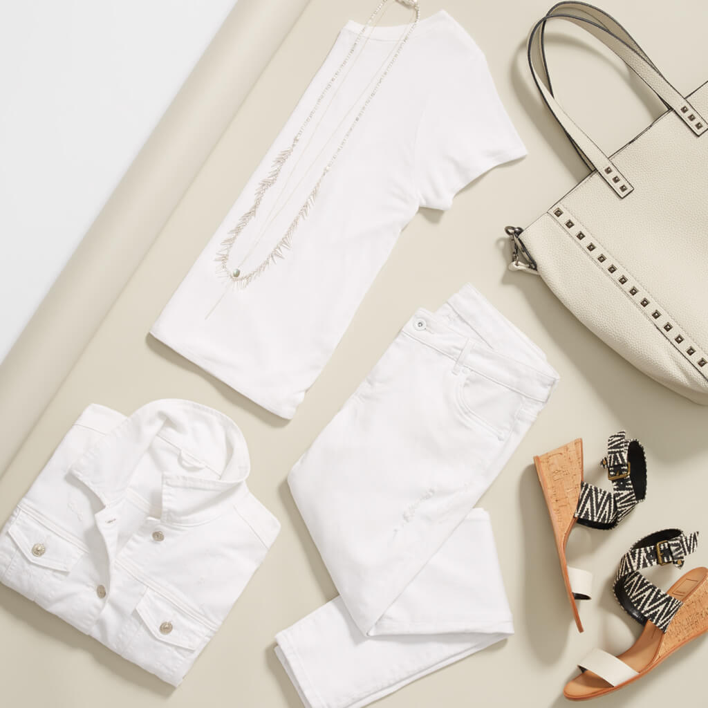 Tackle weekend plans in head-to-toe white. The bright monochrome look can be a bit intimidating, so if you're not ready to go all-the-way-tonal, try the outfit with a chambray shirt or denim jacket.