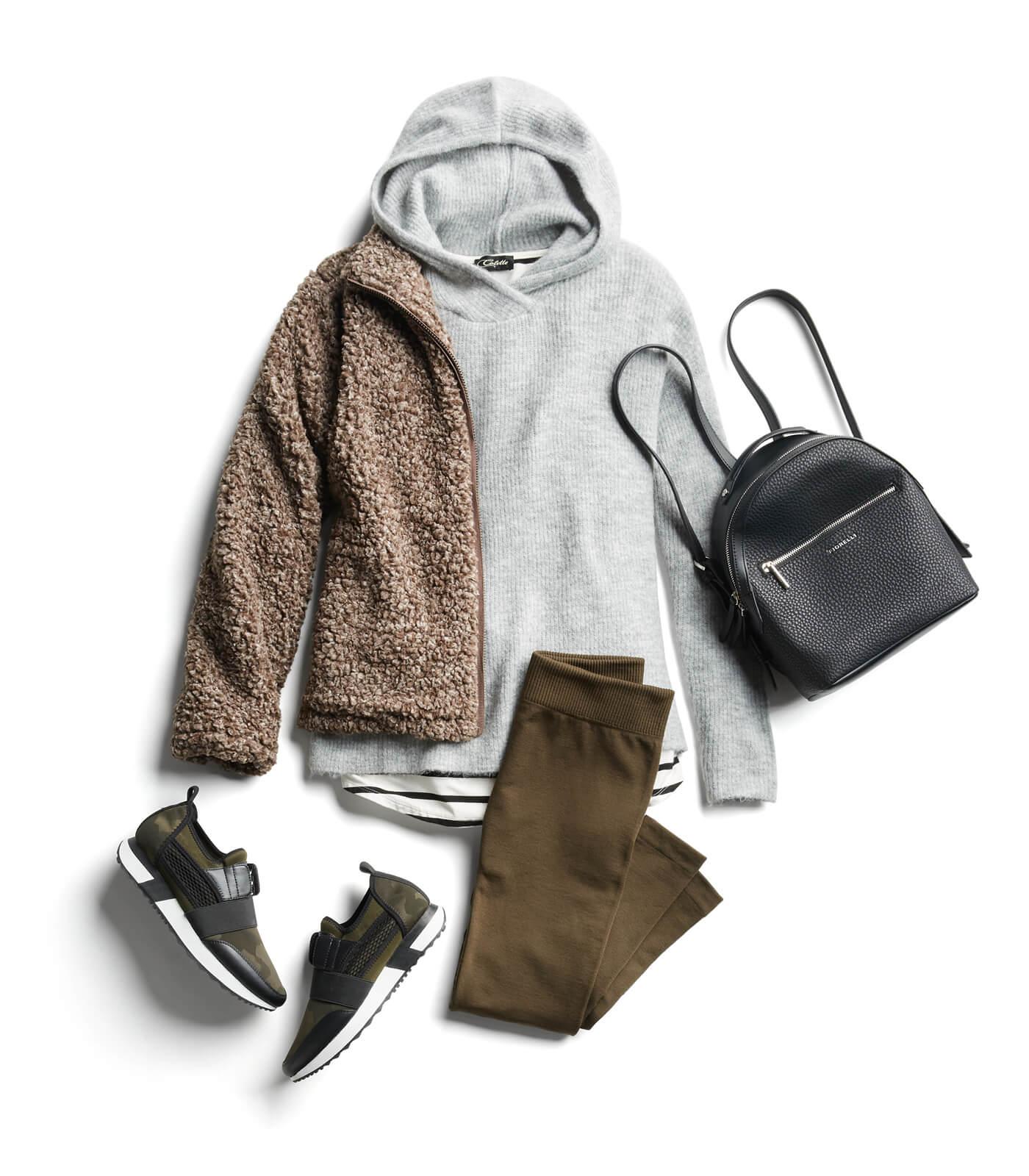 comfortable sneakers and leggings