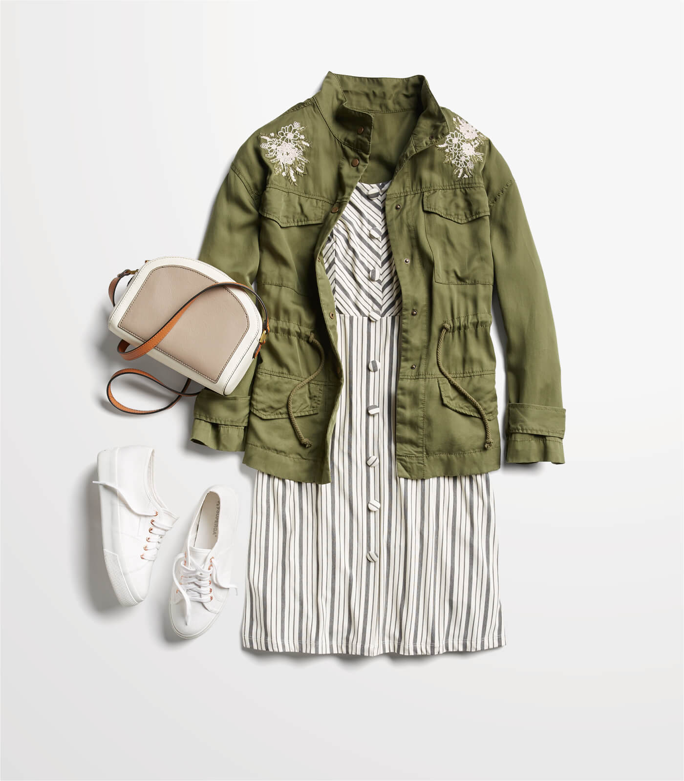 striped dress with cargo jacket and sneakers