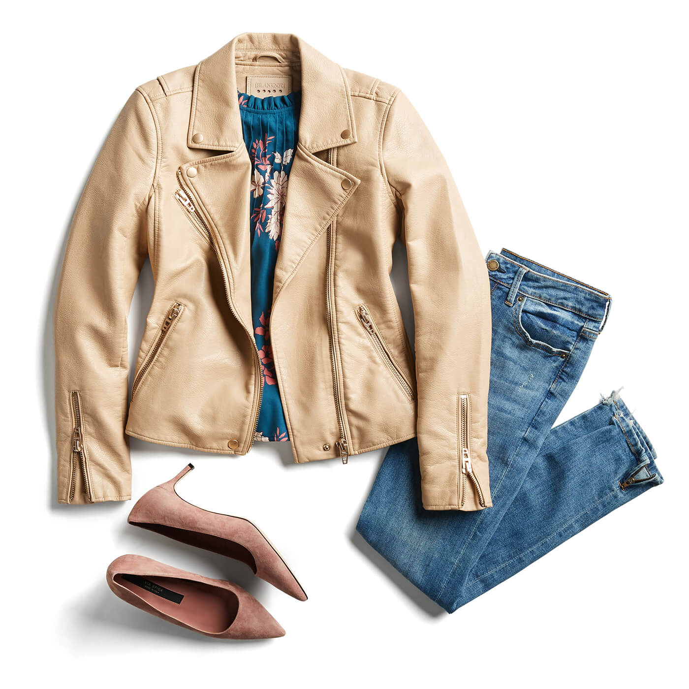 trench coat and light wash denim
