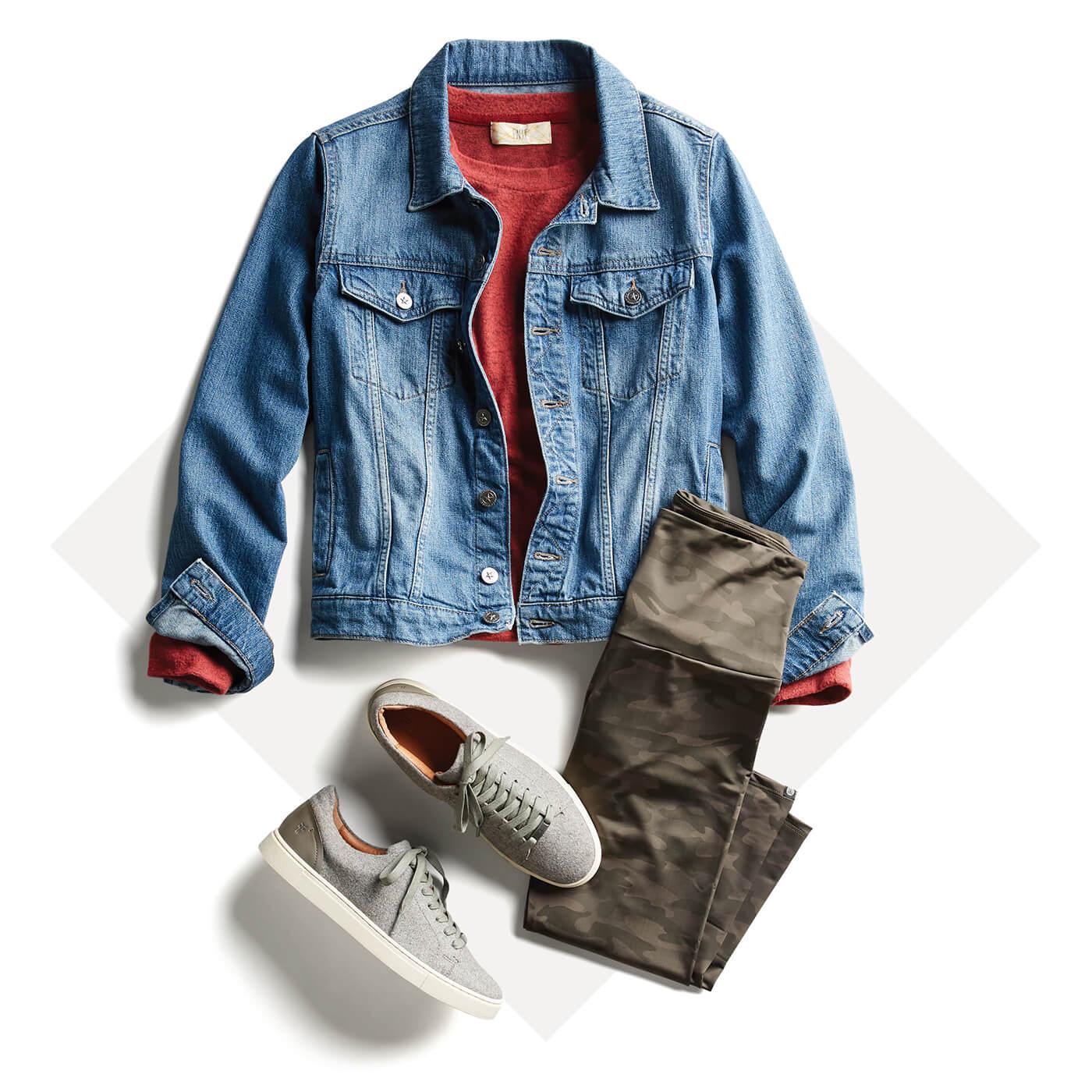camo joggers and denim jacket