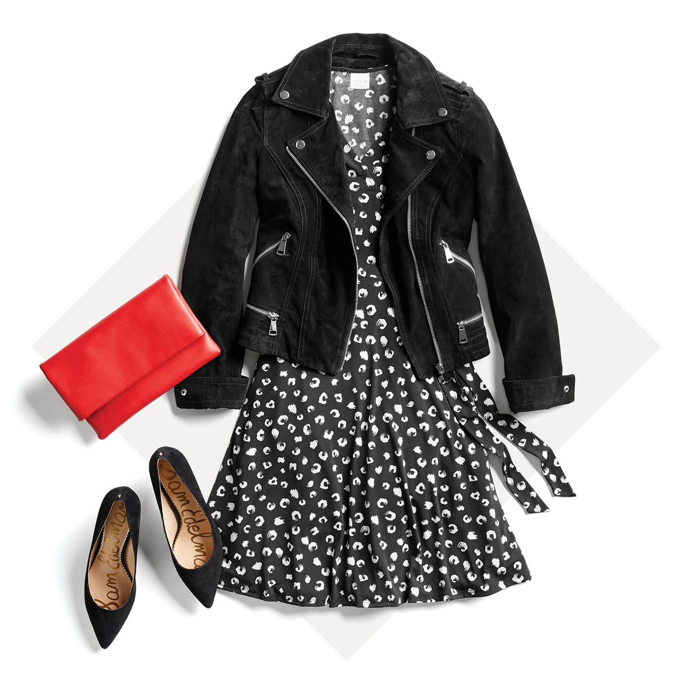 black moto jacket and swing dress
