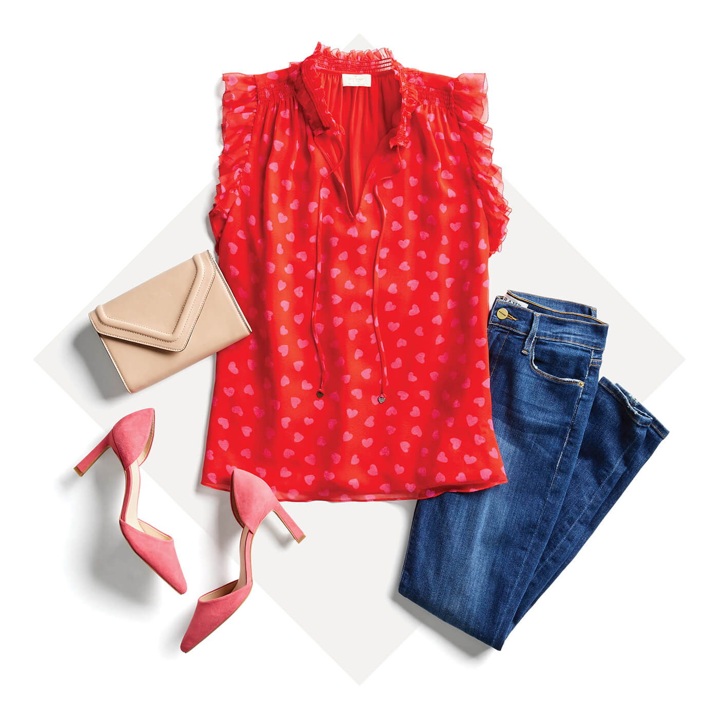 red sleeveless blouse and jeans