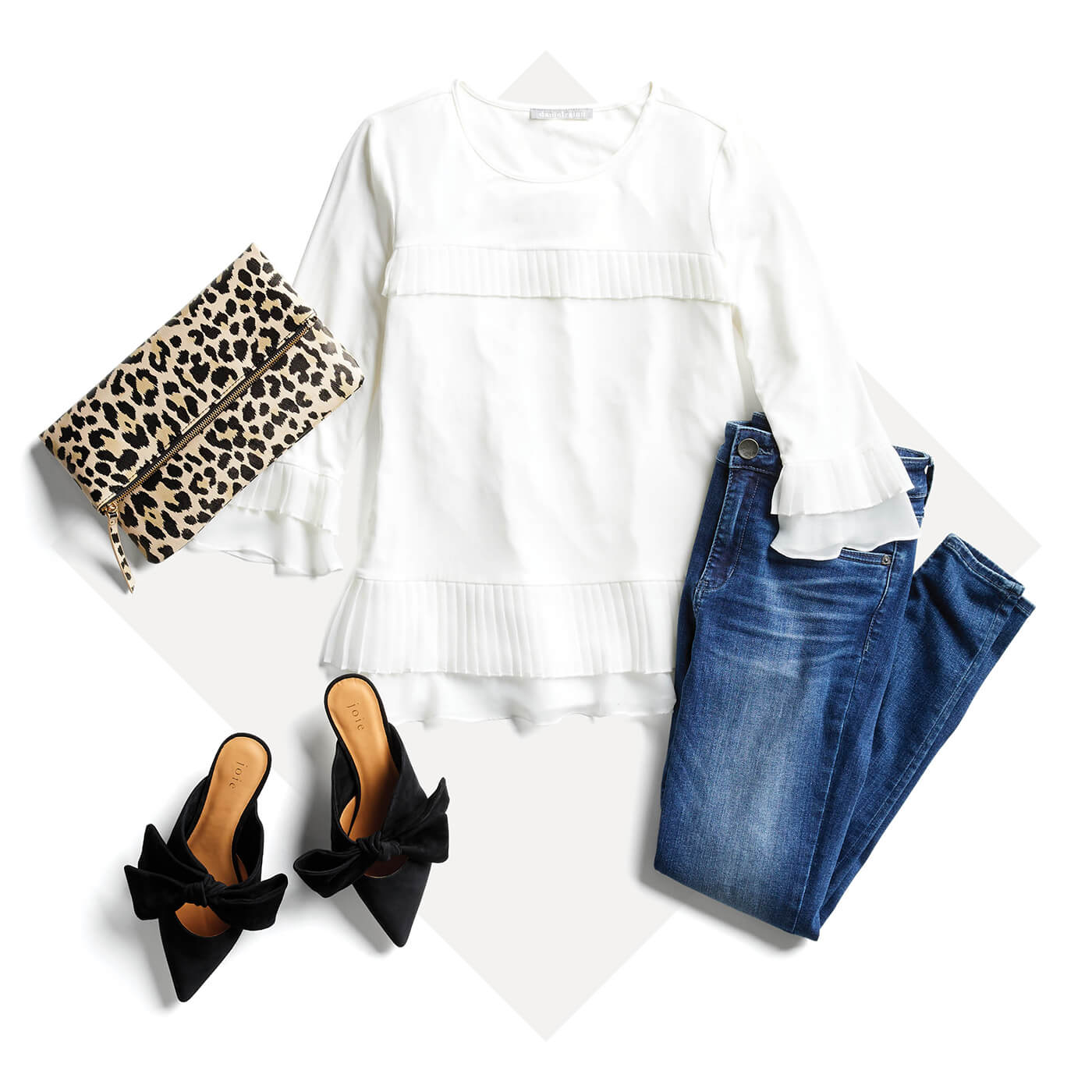 white peasant blouse and dark jeans