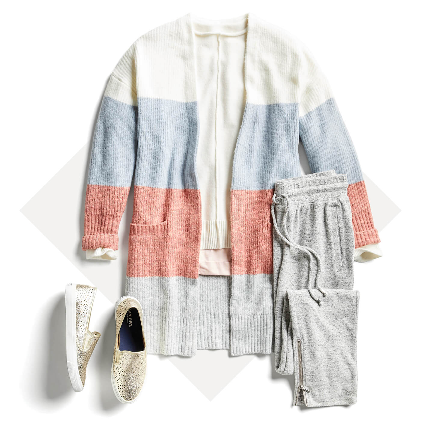 color-blocked cardigan and joggers
