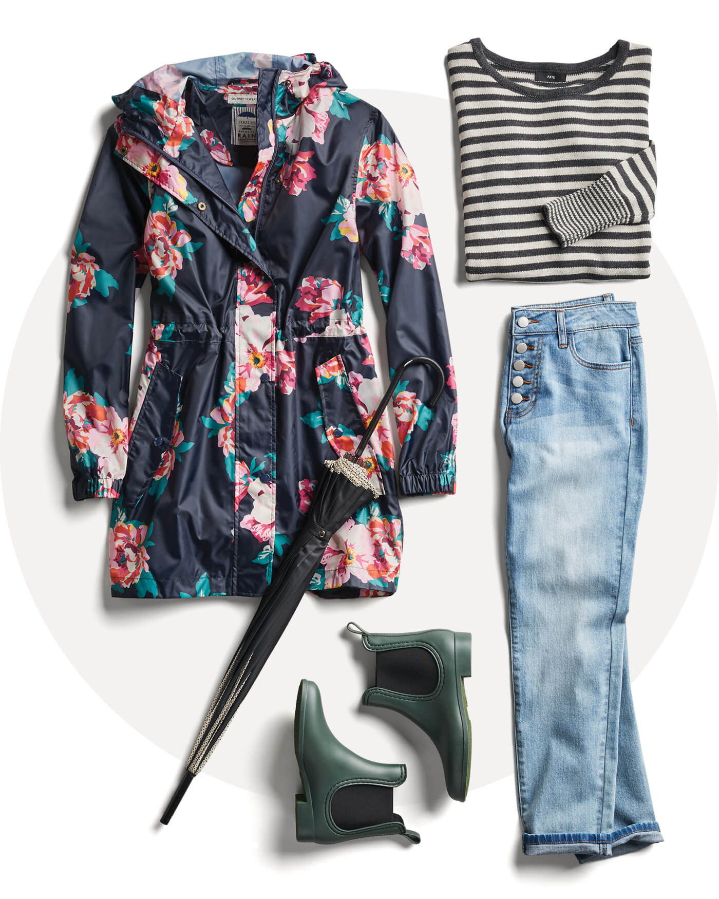 floral raincoat, lightwash denim, rain boots