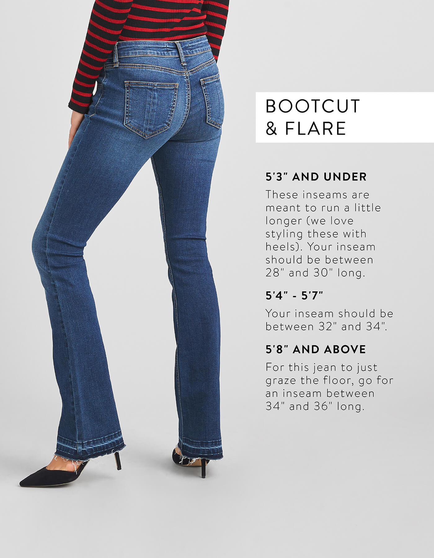 063599f1 guide to denim inseams, denim inseam guide, denim inseams. How Bootcut &  Flare Jeans Should Fit